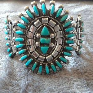 Vintage Zuni  B. Etsate Needle Point Bracelet